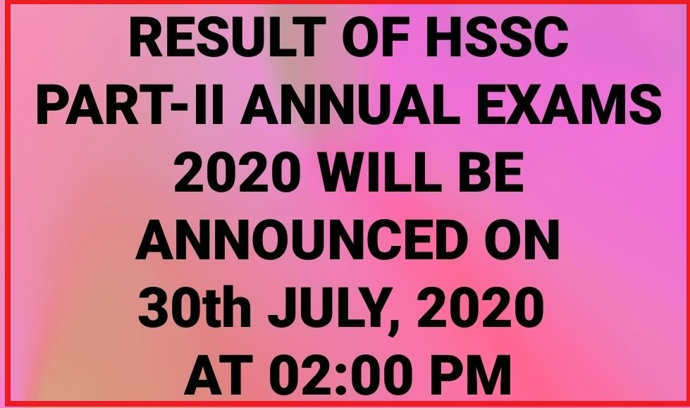HSSC Results Announces on 30th July, 2020 FBISE