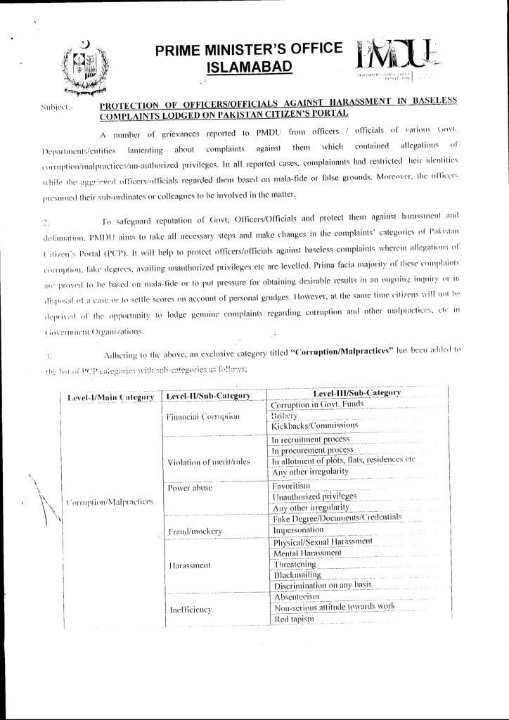 Corruption/Malpractices Categories (PCP)