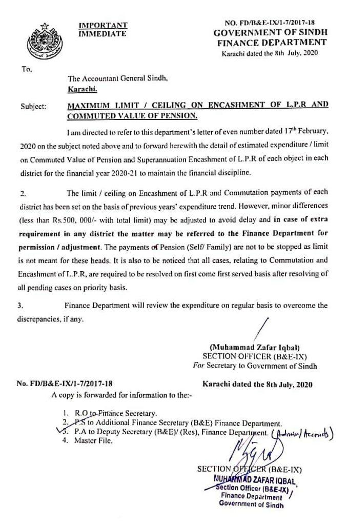 Maximum Ceiling Limit on Encashment of LPR and Commuted Pension