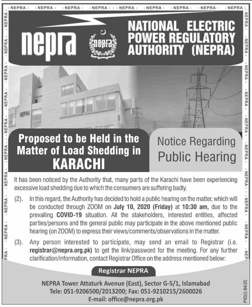 NEPRA Public Hearing Regarding Excessive Load Shedding in Karachi