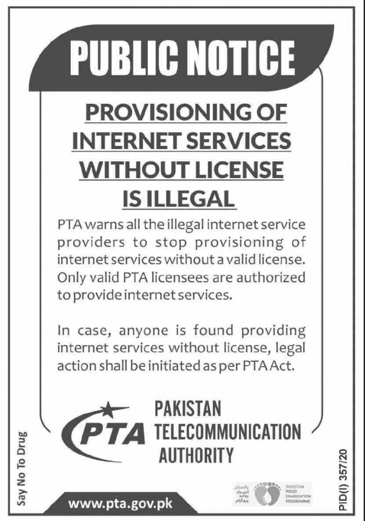 PTA Warns the illegal Internet Service Providers