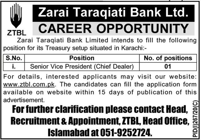 Zarai Taraqiati Bank Limited Latest Jobs 20 July 2020