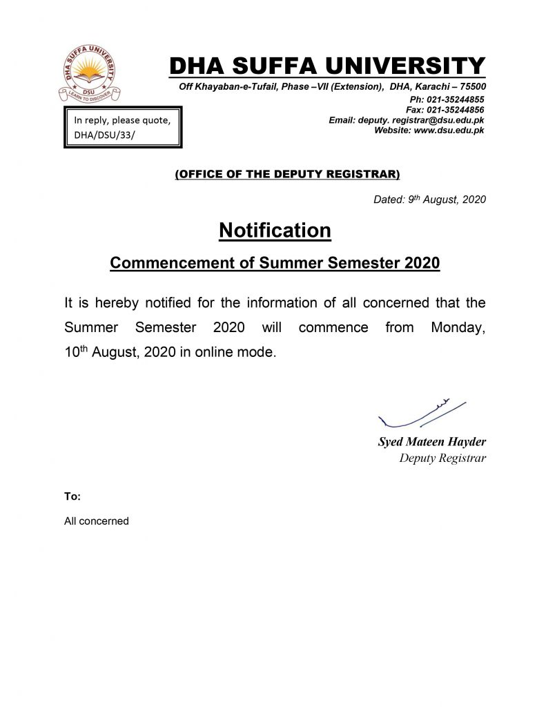 Commencement of Summer Semester 2020 DHA Suffa University