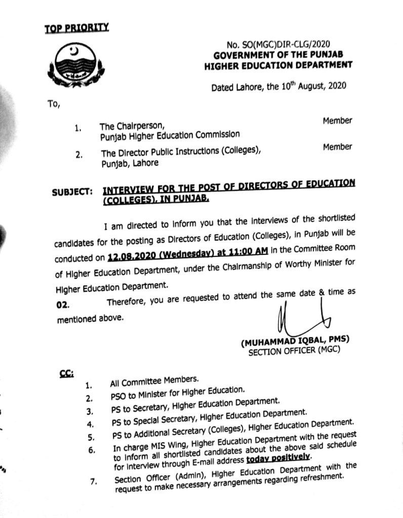 Interview for the Post of Directors of Education (Colleges) in Punjab HEC