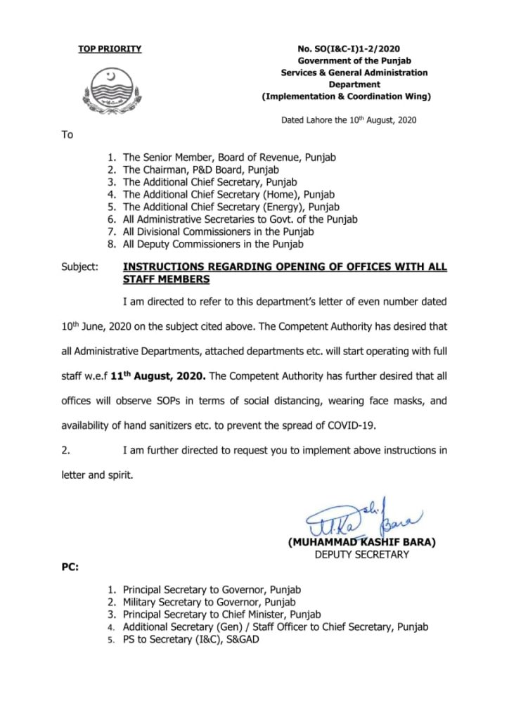 Notification of Instructions Regarding Opening of Offices with All Staff Members