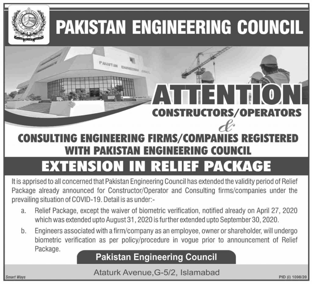 PEC Extends Validity of Relief Package For Constructors Operators