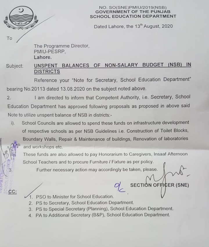 Unspent Balances of Non-Salary Budget (NSB) in Districts