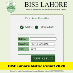 BISE Lahore Board Matric Class 10th Result 2020