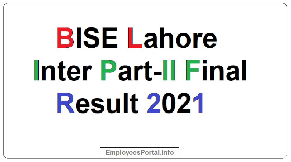 BISE Lahore Inter Part-II Final Result 2021
