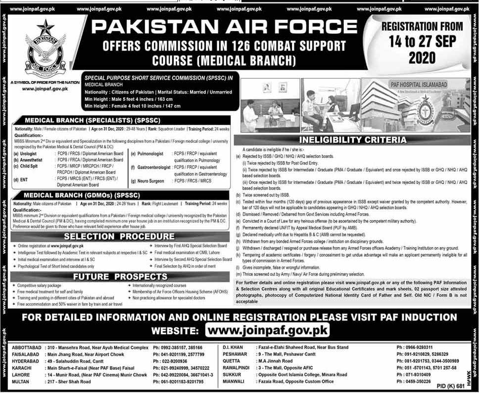 Join PAF As Doctor 2020