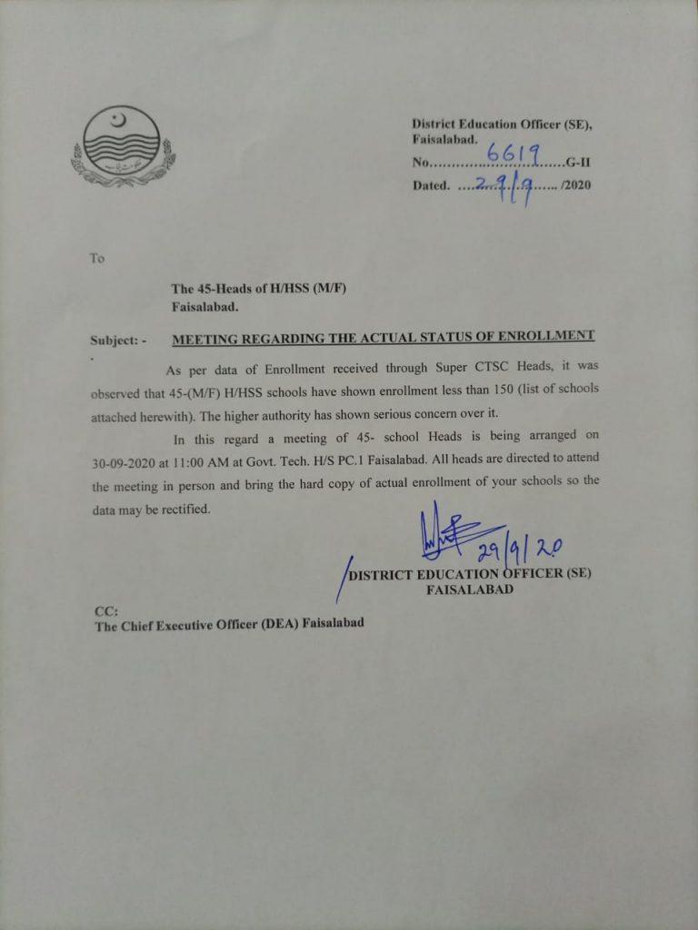 Meeting Regarding Actual Status of Enrollment