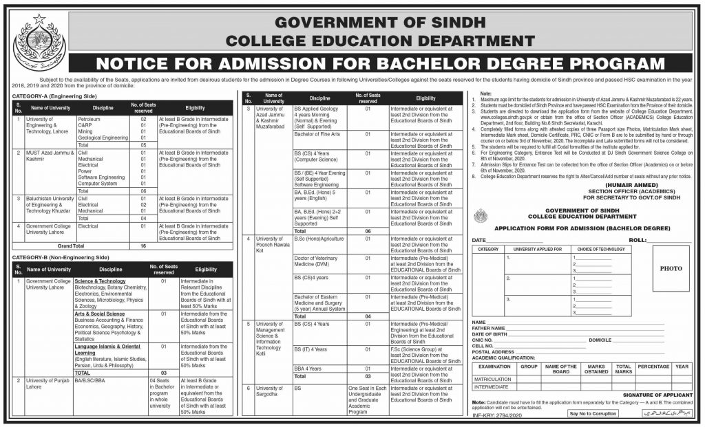 Admission in College Education Department Sindh Degree Courses 2020-21 Last Date