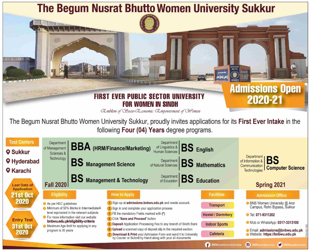 Admissions in the Begum Nusrat Bhutto University Sukkur 2020