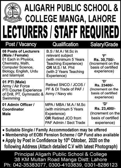 Aligarh Public School & College Manga Lahore Jobs 2020 Latest