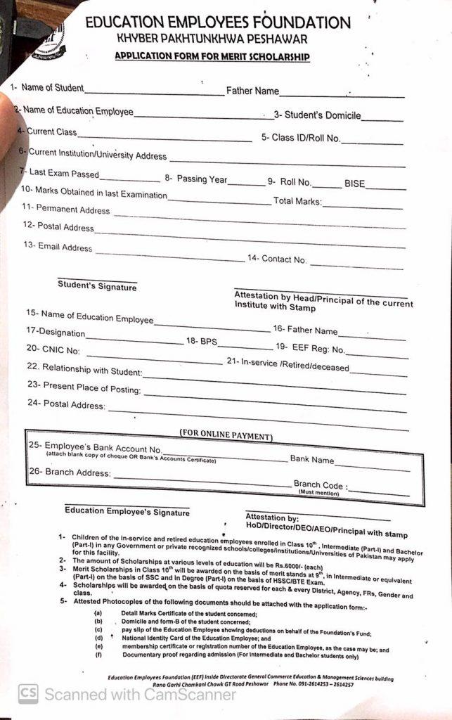 Application Form For Merit Scholarships 2020-21 KPK