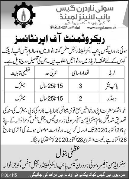 Apprenticeship Jobs in Sui Northern Gas Pipe Lines Limited SNGPL 2020-21 Last Date