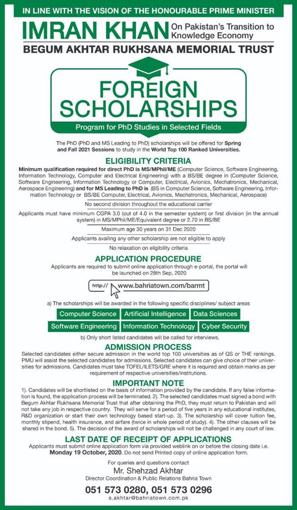 Bahria Town Scholarship 2020-21 MS & PhD