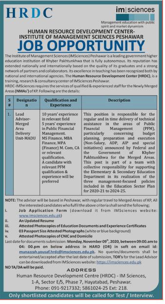 Institute of Management (IM) Sciences Peshawar Jobs 2020 - Last Date