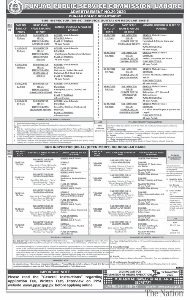 Jobs in PPSC Sub Inspector October 2020 - Last Date