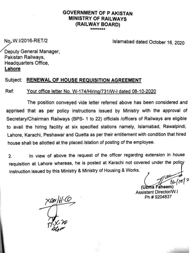 Notification of House Requisition Agreement 2020 Pakistan Railway