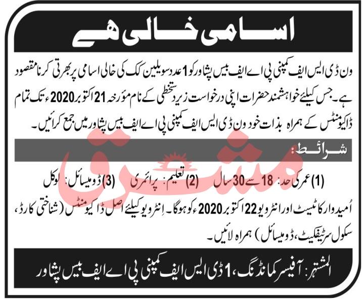 PAF Base Peshawar Jobs Advertisement 2020 Last Date For Civilian Cook