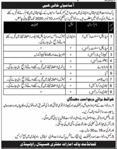 Pak Emirates Military Hospital Rawalpindi Jobs 2020 For Matric, Intermediate & Primary