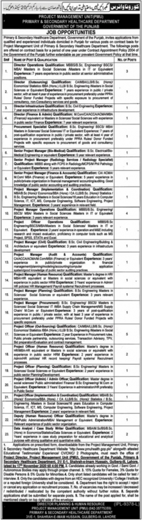 Punjab Health Department Jobs Advertisement 2020 for Project Manager Vacancies