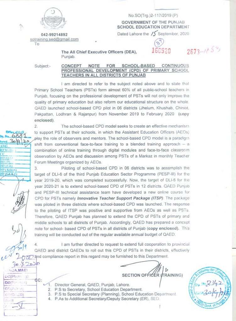 School Based CPD for Primary School Teachers Punjab 2020-21