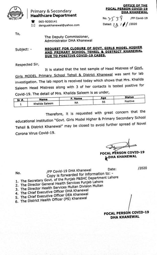 Closure of Govt Girls School Khanewal Punjab 2020 Covid-19 Patients