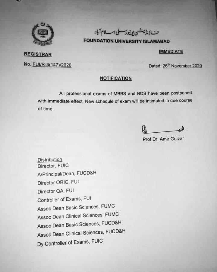 Foundation University Islamabad Notification For Postpones Professional Exams 2020