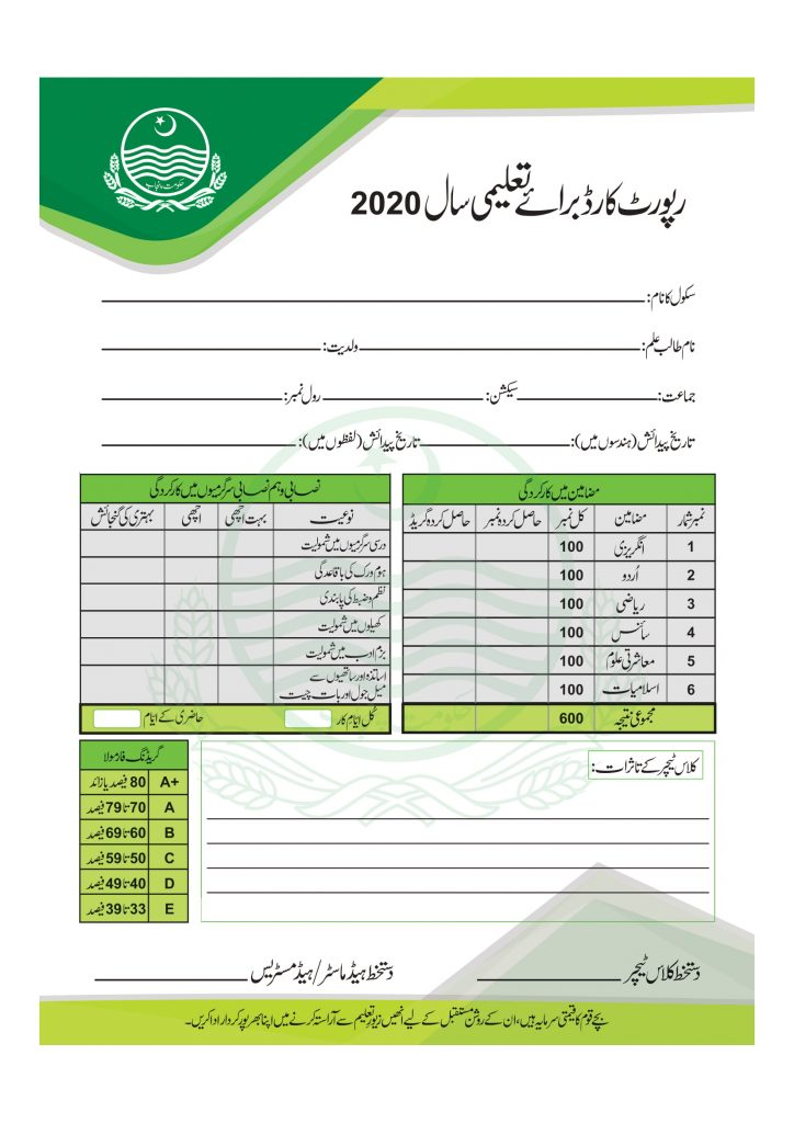 Grade 5th Students Report Card 2020 Sample