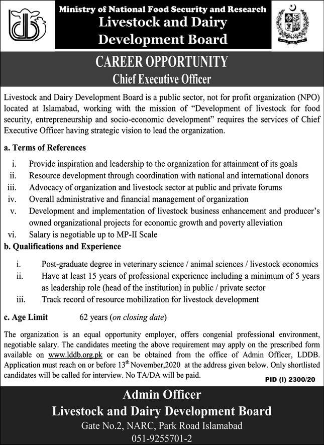 Ministry of National Food Security and Research (MNFSR) Jobs November 2020 for CEO Vacancies