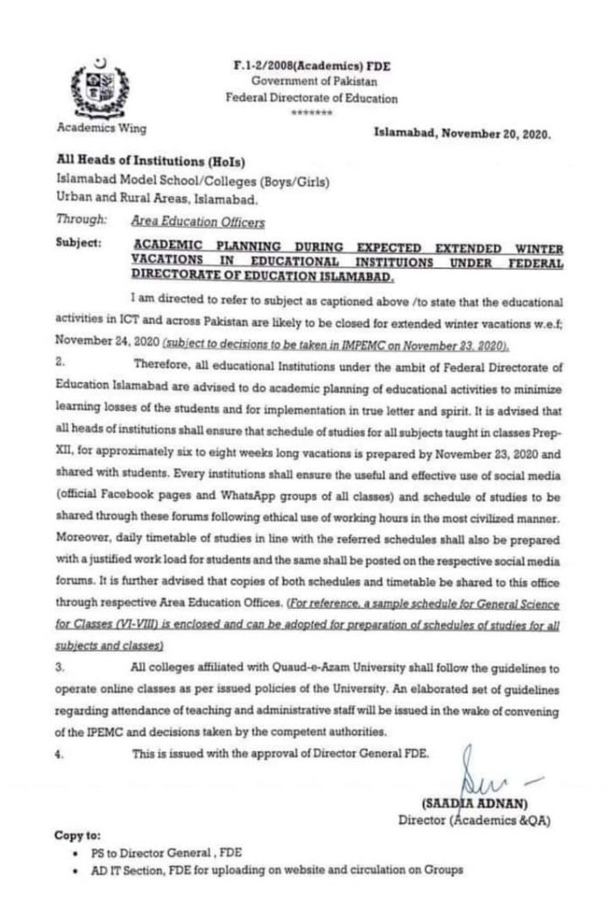 Notification of Academic Planning During Extended Winter Vacations 2020-21