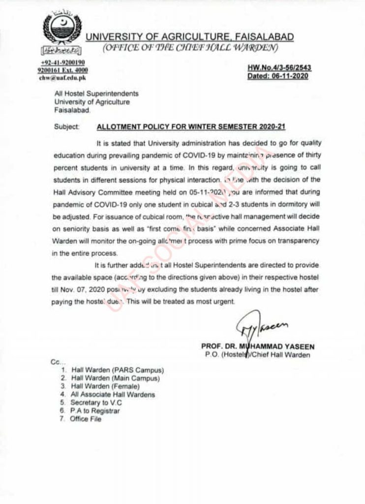 Notification of Allotment Policy for Winter Semester 2020-21
