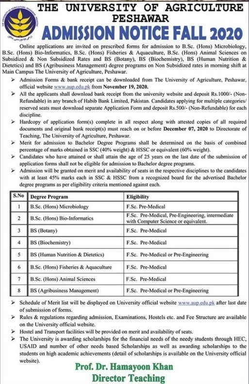 University of Agriculture Peshawar Admission 2020 - Bachelor Degree