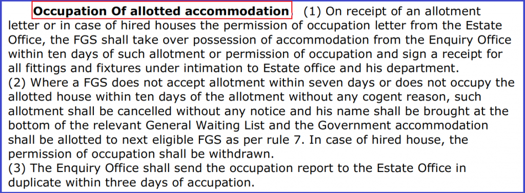 Allotment of Government Accommodation with Permission Letter