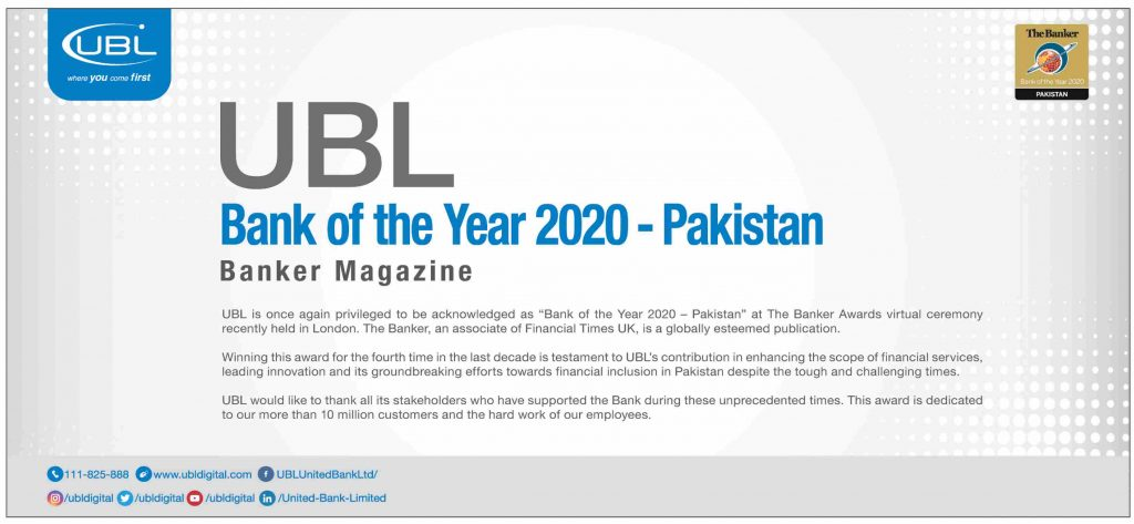 Bank of The Year 2020 - UBL Pakistan (Banker Magazine)