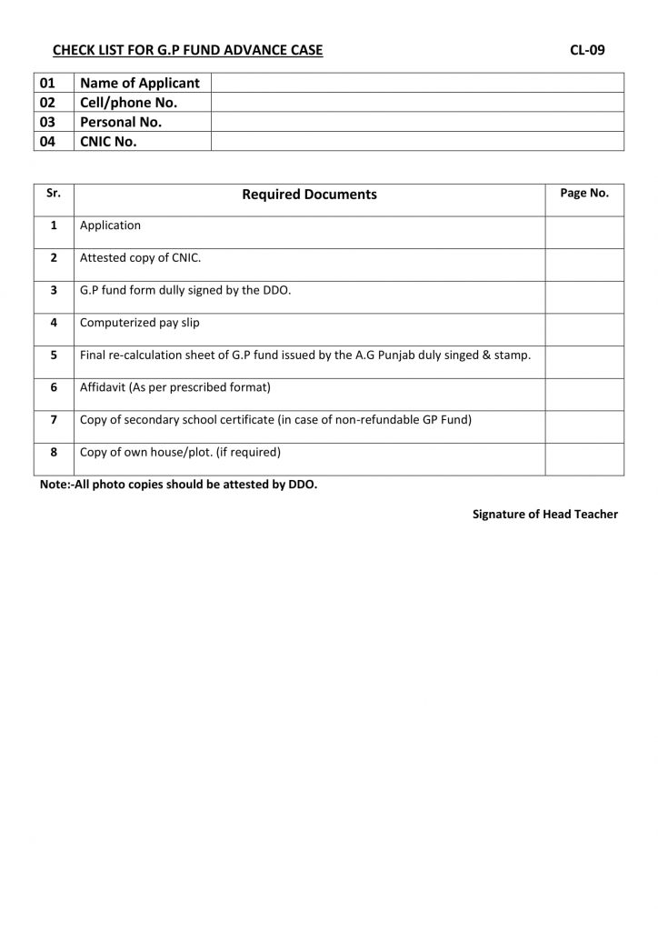 Checklist For GP Fund Advance 2021