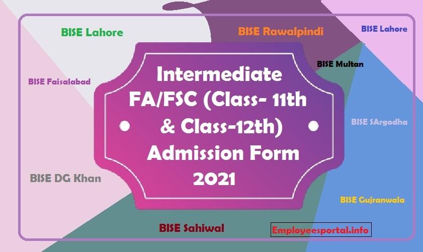 Intermediate FA/FSC (Class-11th & Class-12th) Admission Form 2021