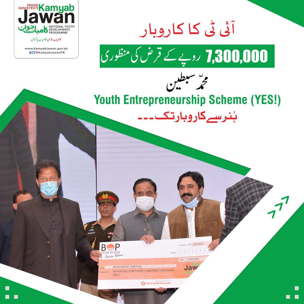 Mohammad Sabteen Got Kamyab Jawan Loan for IT Business From Bank of Punjab