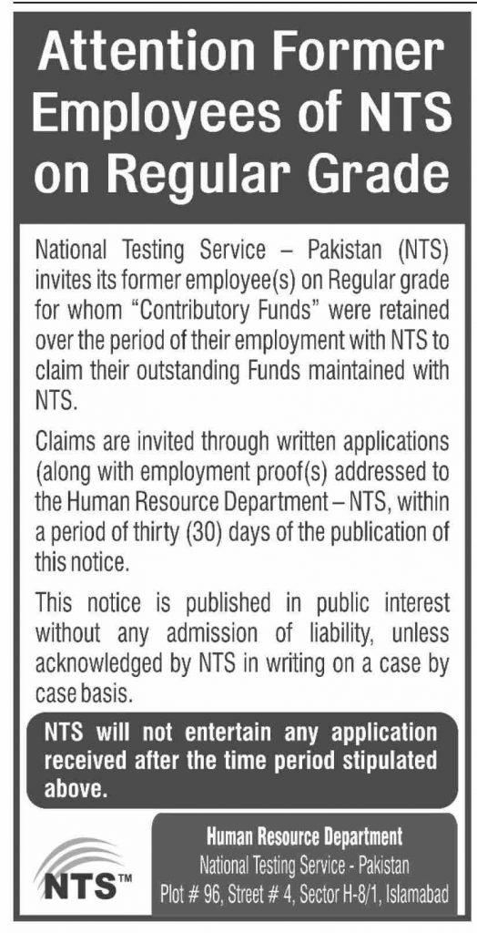 NTS Invites Applications From Former Employees on Regular Grade