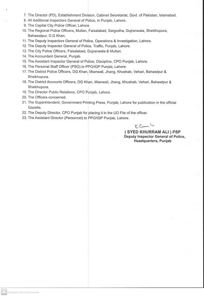 Notification of TransfersPosting Police Officers Punjab 2020 -Page3