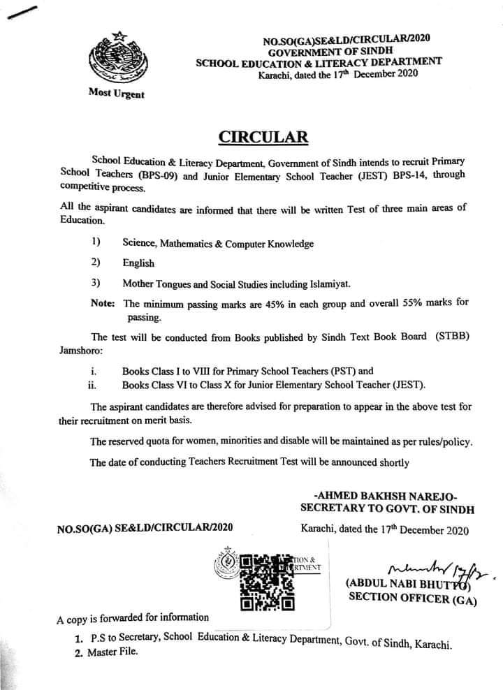PST & EST Teachers Written Test Syllabus 2020 Sindh