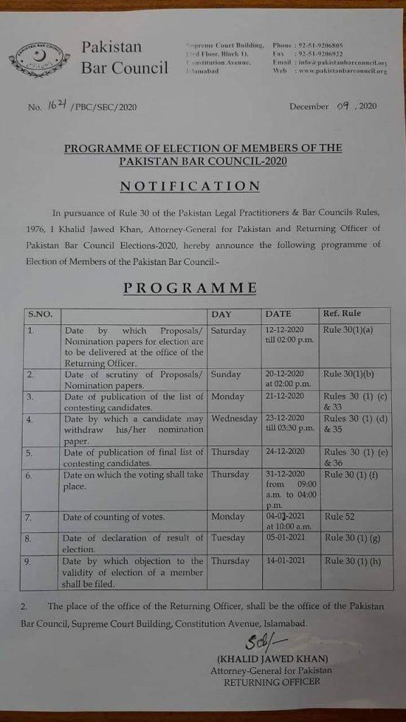Pakistan Bar Council 2020 - Election Schedule