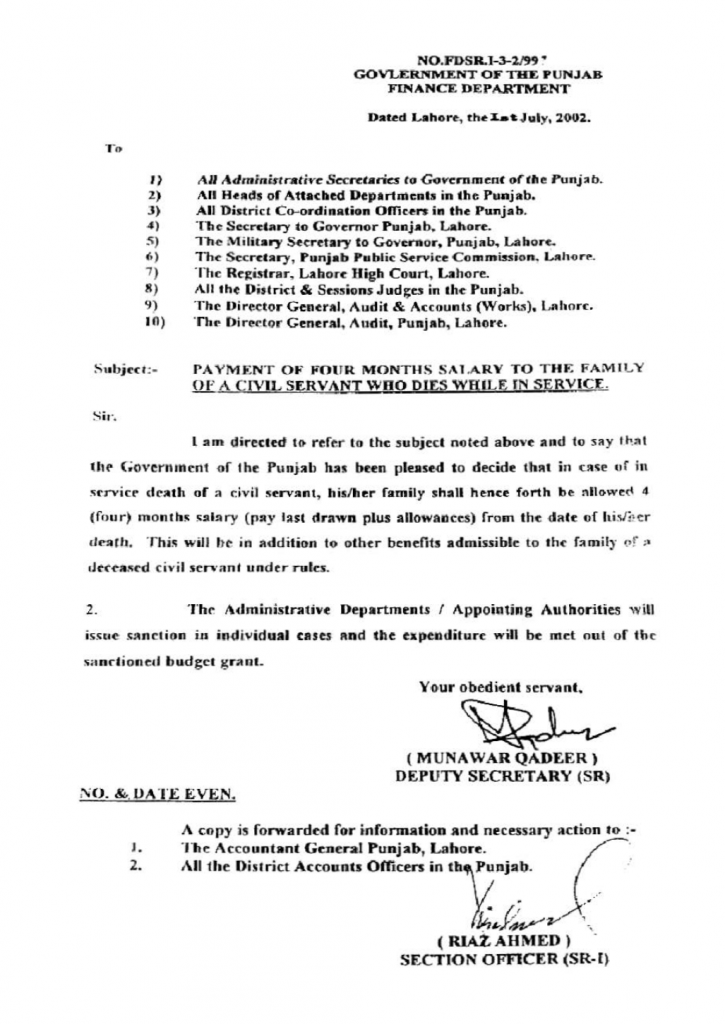 Payment of 4 Month Salary In Case of In-Service Death Notification