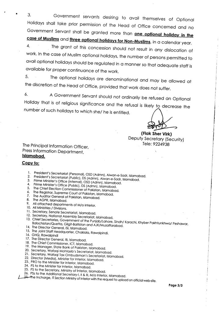 Public and Optional Holidays in Pakistan 2021 - 3