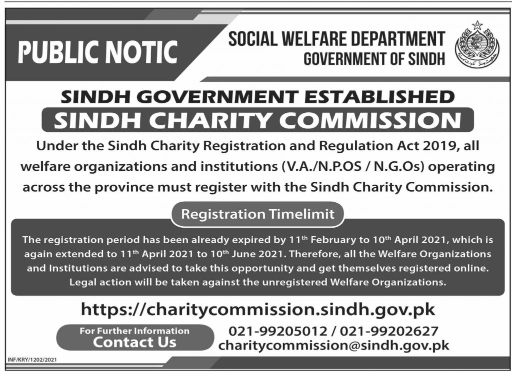 Sindh Charity Commission Registration Extended Till 10 June 2021