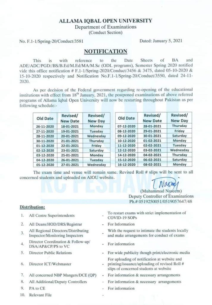 AIOU Exams 2021 Date Sheet