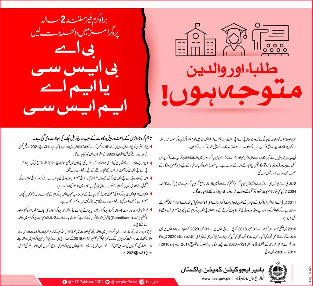 HEC Policy To Take Admission in BA/BSC and MA/MSC Programs 2021