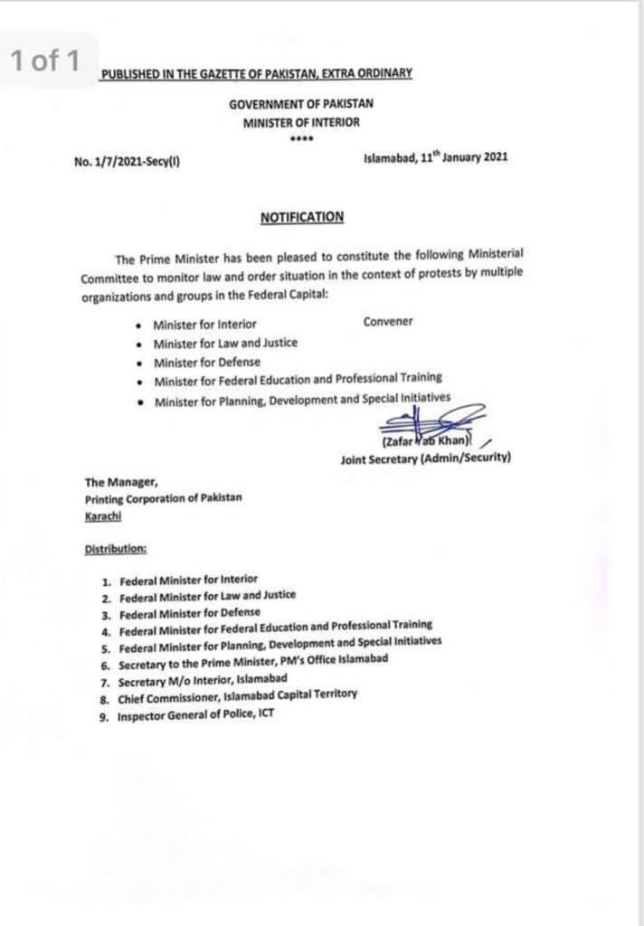 Notification of Constitute Ministerial Committee To Monitor Law and Order